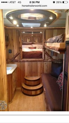 Horse trailer living quarters- I like the additional sleeping bunk