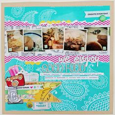 We Enjoy Good Food - by Melissa Mann using the Amy Tangerine Sketchbook collection from American Crafts.We Enjoy Good Food - by Melissa Mann using the Amy Tangerine Sketchbook collection from American Crafts. Scrapbook Page Layouts, Scrapbook Pages, Scrapbooking Ideas, Amy Tan, Scrapbook Organization, Crate Paper, Travel Scrapbook, American Crafts, Smash Book