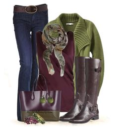 """""""Olive, Plum and Boots for Fall"""" by tufootballmom ❤ liked on Polyvore featuring Citizens of Humanity, Lanvin, Merona, Meesha, Rochas, Lands' End and Alexis Bittar"""