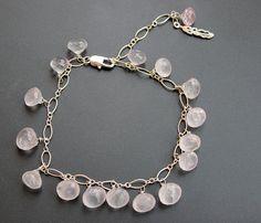 Rose Quartz Bracelet. Sterling silver by IrinaArtBoutique on Etsy