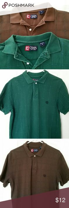 Set of 2 men's Polo shirts, Chaps, Size M Great men's shirts! Set of 2 Polo shirts, Chaps brand, size Medium. My husband is tall and slim and they fit him well. Emerald green and rich brown colors. Square, grid pattern on the fabric. 100% cotton. There is slight color fading on the green Polo, good condition. Message me for more info. Chaps Shirts Polos