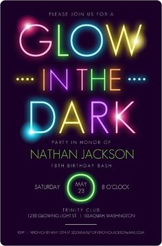 Glow in the Dark Party Invitations! This would be great for a glow in the dark birthday party! #TeenBirthdayInvitations #GlowInTheDarkInvitations #GlowInTheDarkPartyInvitations