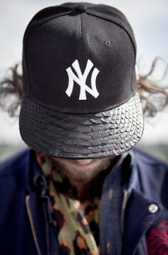 Yankees cap with alligator skin.
