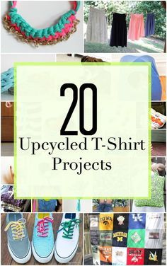 Sew Craft Don't toss out that old t-shirt, turn it into something new and fresh with these 20 upcycled t-shirt projects! - Don't toss out that old t-shirt, turn it into something new and fresh with these 20 upcycled t-shirt projects! Upcycle T Shirts, Old Tee Shirts, T Shirt Recycle, Diy Old Tshirts, Tee Shirt Crafts, T Shirt Yarn, Diy Shirt, Shirt Refashion, Diy Tank