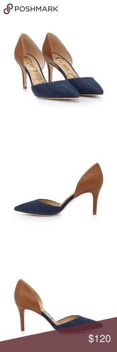 Sam Edelman Denim & Cognac d'Orsay Pumps Classy heels. Dressy yet playful due to the blue denim material. This style color is sold out. Sam Edelman Shoes Heels