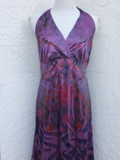 Torrid-plus-size-1-1X-purple-floral-shiny-halter-dress-knee-length