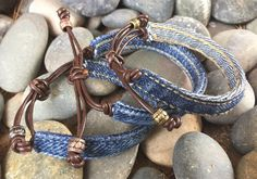 Denim Bracelet with Brown Leather Silver Bronze by AllintheJeans