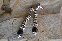 Onyx Earrings, Black Onyx Earrings, Tribal Onyx Earrings, Silver Onyx Earrings, Onyx, Onyx Jewelry, Drop, Dangle, Ethnic, Gemstone (E241) by LKArtChic on Etsy