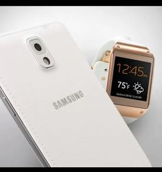 Galaxy Note 3 in white & Galaxy Gear watch white with Rose Gold face