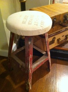 Vintage Feed Sack Covered Wooden stool