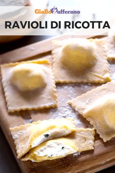 Ricotta ravioli: fresh cow's milk ricotta flavored by Grana Padano enclosed in a casket of fresh pasta. Simple and tasty flavors, perfect for the most important occasions like the Christmas holidays! Cheese Ravioli Recipe, Ricotta Ravioli, Crepes, Make Your Own Pasta, Pizza, Fresh Pasta, Food Illustrations, Italian Recipes, Food And Drink