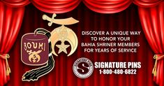 Discover a unique way to honor your Bahia Shriner Members for years of service. Contact us now to get started on a custom design for your members. Visit our website at www.signaturepins.com. Or contact us at info@signaturepins.com or 1-800-480-6822. #SignaturePins #ShrinerPins #CustomLapelPinsAndMore #YearsOfService