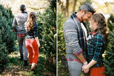 christmas tree farm engagement. Lee in red plaid and me in red skinnies?
