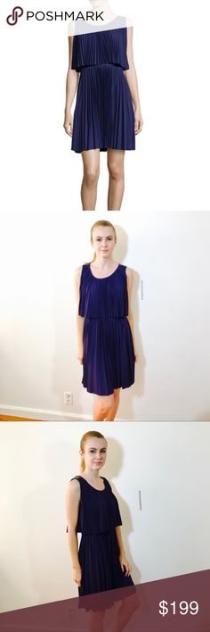 """HALSTON HERITAGE SCOOP NECK PLISSE COCKTAIL DRESS NWT, no issues. """"Astral Blue"""" had a purple hue to it. Halston Heritage Dresses"""