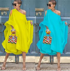 Chiffon Off-The-Shoulder Sleeve Casual Dress Maxi Dress Vacation Dress African Fashion Dresses, African Dress, Chiffon Shoulder, Shoulder Sleeve, Cold Shoulder, Look Fashion, Fashion Outfits, Dress Fashion, Fashion Hacks