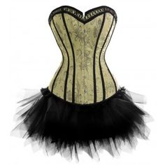 A3373 - Victorian Green Corset with Black Tutu - Burlesque Costumes