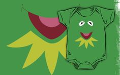 Kermit the frog from the muppets on a baby onesie. done in vector form. available to buy on redbubble.com as a t-shirt, kids clothes and ipod and iphone case at http://www.redbubble.com/people/geekartistry