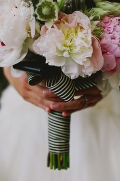 I love the use of the striped ribbon on the bouquet. The couple tied the striped ribbon into their entire wedding, using it on their invitation suite, etc. Striped Wedding, Floral Wedding, Wedding Flowers, Bouquet Wedding, Wedding Dresses, Photo Wedding Invitations, Wedding Invitation Inspiration, Bouquet Wrap, Ribbon Bouquet