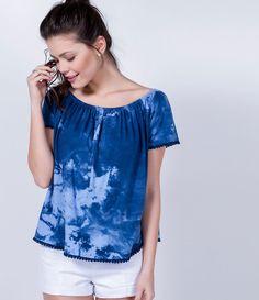 Blusa feminina  Modelo bata  Manga curta  Marca: Blue Steel  Tecido: malha  Composição: 100% algodão  Modelo veste tamanho: P             COLEÇÃO VERÃO 2016           Veja outras opções de    blusas femininas.