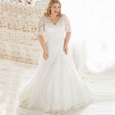 Plus Size Vintage Beaded Lace Wedding Dress- Plus size Up to 28W
