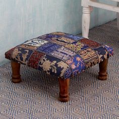 Embellished ottoman, 'Rajasthan Fantasy' - Fair Trade Embellished Ottoman Foot Stool from India Kilim Ottoman, Ottoman Stool, Industrial Dining Chairs, Contemporary Dining Chairs, West Home, Handmade Furniture, Floral Furniture, Indian Furniture, Dream Furniture