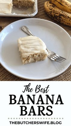 The BEST Banana Bars you will ever eat! Sweet, moist and full of delicious banana flavor with a smooth cream cheese frosting Banana Recipes Easy, Ripe Banana Recipe, Banana Dessert Recipes, Easy Banana Bread, Apple Bread, Cake Recipes, Yummy Snacks, Delicious Desserts, Easy Desserts