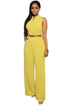 Chic Standup Collar Yellow Belted Wide Leg Jumpsuit