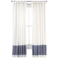 Window Treatments - Happy Chic by Jonathan Adler Elizabeth Faux-Linen Curtain Panel I jcpenney - white faux linen drapes with greek key band...