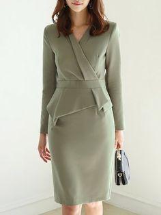 b0e2a4aa942 Stylewe Formal Dresses Long Sleeve Ruffled Dresses Work Sheath V Neck  Elegant Ruffled Dresses. StyleWe · Party Dresses