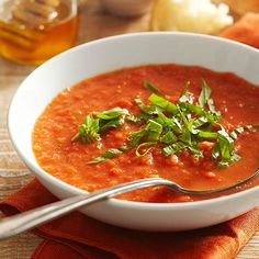 Use up those garden tomatoes in our Fresh Tomato Soup! More Summer Soup Recipes: http://www.bhg.com/recipes/healthy/healthy-summer-soup-recipes/ #myplate