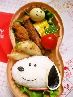 Charaben Easy Snoopy Rice Ball Recipe - How are you today? How about making Charaben Easy Snoopy Rice Ball? Cute Lunch Boxes, Bento Box Lunch, Rice Box, Kawaii Bento, Japanese Lunch, Bento Recipes, Rice Balls, Balls Recipe, Food Humor