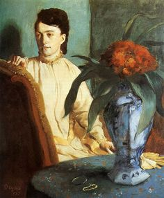 Learn more about Woman with the Oriental Vase, 1872 Edgar Degas - oil artwork, painted by one of the most celebrated masters in the history of art. Edgar Degas, Manet, Painting Frames, Painting Prints, Degas Paintings, Art Ancien, Flower Artwork, Pierre Auguste Renoir, Oil Painting Reproductions