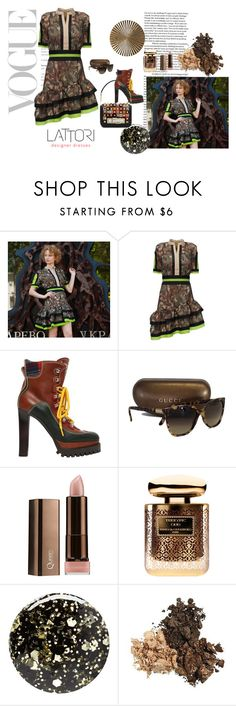 """Jolly Camouflage Time Dress with Double Layer Ascew Ruffle Hem"" by lattori ❤ liked on Polyvore featuring Lattori, Dsquared2, Gucci, COVERGIRL, Terry de Gunzburg, Nails Inc., dress, dresses and lattori"