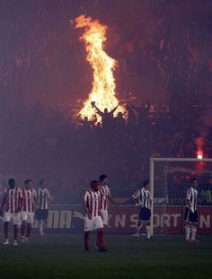 Unruly fans light a bonfire in the stands of a chaotic derby match between Red Star and Partizan in Belgrade Ronaldo Real Madrid, Real Madrid Football, Soccer Stadium, Soccer Fans, Football Stadiums, Football Soccer, Retro Football, Football Stuff, Steven Gerrard