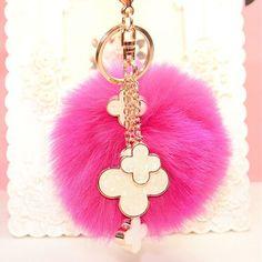 Fur Pom Pom Fluffy Genuine Fox Fur Ball Keychain Fur Four Leaf Clover Key Chain Key Ring Fur Bag Charm Women Bag Accessories