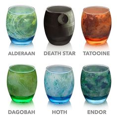 """""""ThinkGeek has created a beautiful glassware set based on planets (Alderaan, Dagobah, Hoth, and Tatooine), a moon (Endor) and a space station (The Death Star) from the Star Wars universe."""""""