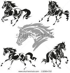 Galloping horses Images based on brush-drawn studies of galloping horses. - stock vector