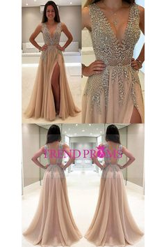 Unique Prom Dresses, A-Line V-Neck Sleeveless Charming Tulle Side Split Prom Dresses with Beads and Sweep Train, There are long prom gowns and knee-length 2020 prom dresses in this collection that create an elegant and glamorous look Split Prom Dresses, Backless Prom Dresses, Tulle Prom Dress, Modest Dresses, Ball Dresses, Homecoming Dresses, Champagne Prom Dresses, Sexy Dresses, Nude Prom Dresses