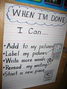 Writing anchor chart- for Work on Writing Daily 5 Kindergarten Anchor Charts, Writing Anchor Charts, Kindergarten Writing, Teaching Writing, Lucy Calkins Kindergarten, Writing Lessons, Writing Resources, Writing Activities, Writing Ideas