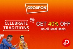 @groupon (NearBuy) #offers 40% off on All #LocalDeals. #Max. #Discount Rs.350. Valid Till Oct 25th. 40% off Coupon Code – CELEBRATE http://www.paisebachaoindia.com/get-40-off-on-all-local-deals-groupon/