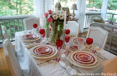 Red transferware & glasses Porch tablesetting ~