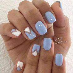 Best Spring Nails 24 Best Spring Nails for 2018 Hashtag Nail Art - cute nails ideas - Nail Designs Spring, Gel Nail Designs, Light Blue Nail Designs, Nails Design, Light Blue Nails, White Nails, Nail Art Blue, Fancy Nail Art, Baby Blue Nails