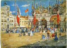 "Maurice Prendergast (1858–1924). ""St. Mark's, Venice,"" 1898. Pencil and watercolor on paper. National Gallery of Art, Washingon, DC."