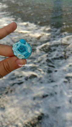 Polimerkil güllü yüzük,polymerclay ring
