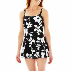 Robby Len by Longitude Floral Print Princess Seam 1-Piece Swimdress  found at @JCPenney size 14