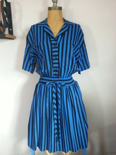 #80s #Vintage #Black & #Blue #Stripe #Shirt #Dress Size #Large by Thriftiquities http://etsy.me/13Dpojr via @Etsy #Retro #Fashion #Style