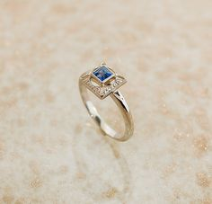 Antique Art Deco 14K White Gold and Sapphire Ring. $750.00, via Etsy.