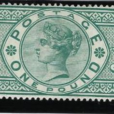 "£7,500 Great Britain 1891 £1 green plate 3, SG212. Superb unused with original gum example lettered TA from plate 3 without ""frame break"" variety. Very scarce and far more difficult to find that plate 2 example with the frame break variety. GB Specialised Catalogue No: K17aa. Green Plates, Stamp Collecting, Great Britain, Postage Stamps, Lettering, Personalized Items, The Originals, Frame, Collection"