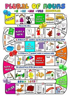 A boardgame to practise plurals of nouns. Hope you can use it with your pupils. Have a great weekend, mada:). Grammar: Plural nouns: regular plurals with S ending; Grammar Games, Grammar And Vocabulary, English Vocabulary, English Grammar, Teaching English, Vocabulary Games, Noun Games, Kids English, English Lessons