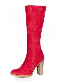 Dámske čižmy z pravej kože Ema 08 červené nubuk Heeled Boots, Modeling, Heels, Fashion, High Heel Boots, Heel, Moda, Heel Boots, Modeling Photography
